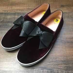 kate spade delise burgundy velvet slip-on sneaker